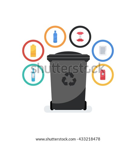 Vector flat style illustration of garbage container. Recycle garbage bin for waste separation and sorting: glass, food,  metal, plastic, paper.