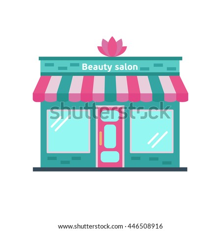 Vector Flat Style Illustration Of Nice Beauty Salon Building Isolated On White Background
