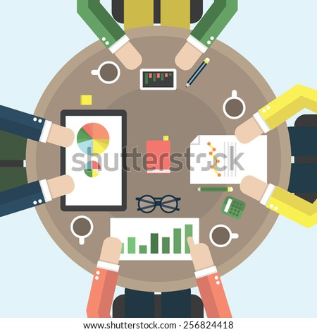 Vector flat style office workers business management meeting and brainstorming on the round table in top view. - stock vector