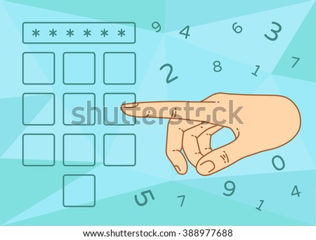 Vector flat style on background. Illustration of enter secret pin code. Hand and finger pushing secret pin code. Password and unlock, access, identification, unlock symbol. Buttons secret pin code