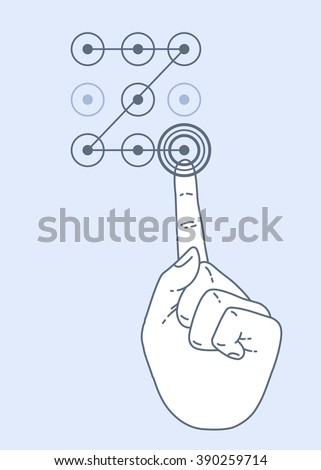 Vector flat style on background. Illustration of enter secret pin code. Hand and finger pushing secret pin code. Password and unlock, access, identification, unlock symbol. Buttons secret pin code - stock vector