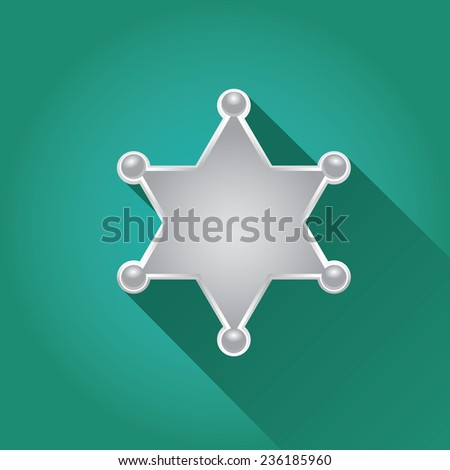 vector flat style silver sheriff or police star badge on azure background. vector six-pointed star - stock vector