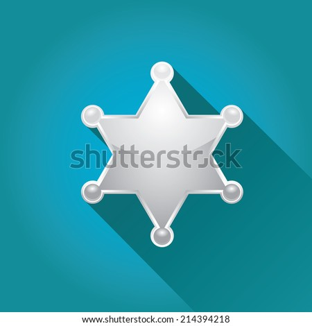 vector flat style silver sheriff or police star badge on blue background. vector six-pointed star - stock vector