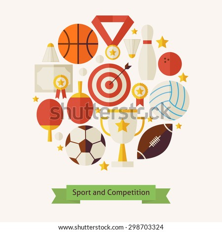 Vector Flat Style Sport Recreation and Competition Colorful Objects Concept. Flat Design Vector Illustration. Collection of Sports and Activities. Set of Team Games First place and Sport Items.  - stock vector