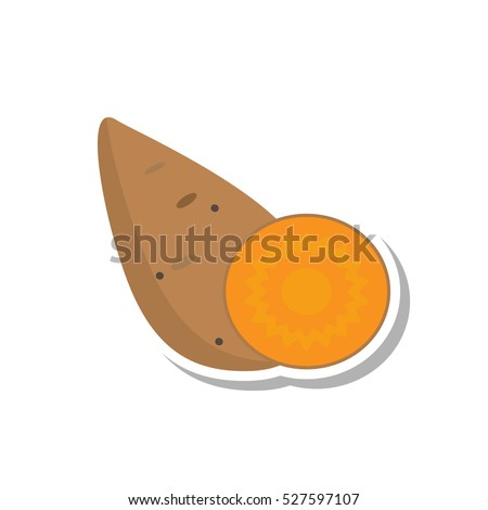 vector flat style sweet potato icon isolated on white background. perfect for  recipe or diet design element. vegetarian and healthy lifestyle concept