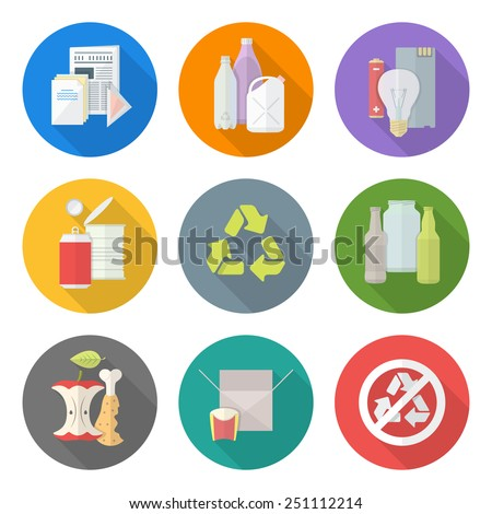 vector flat style various waste colored groups paper plastic battery metal glass organic paper hazardous long shadow icons set for separate collection and segregation recycle garbage - stock vector