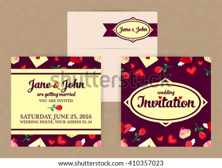 vector flat style wedding invitation and envelope