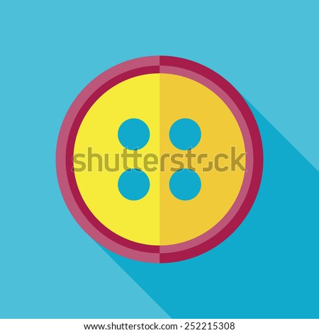 Vector flat tailor button icon on blue background with long shadow. Tailor sing. Eps10 - stock vector