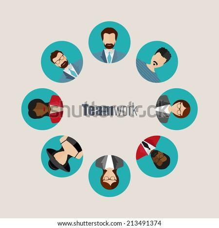 Vector Flat teamwork, togetherness concept illustration. People symbol.  - stock vector