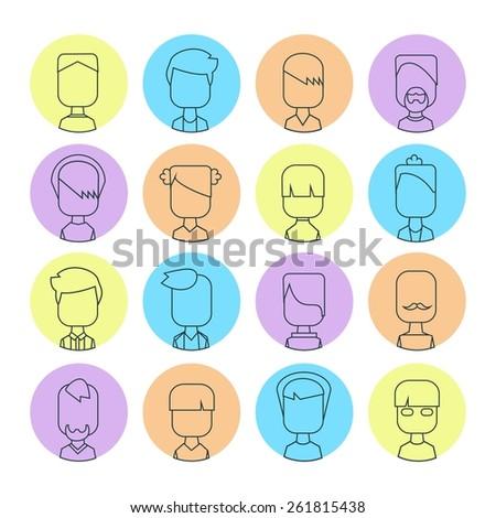 Vector flat thin contour icon set avatar people. Line art. - stock vector