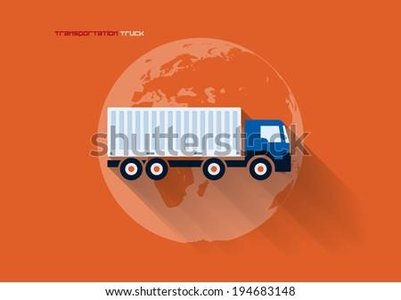 Vector flat transportation concept icon illustration. Truck. - stock vector