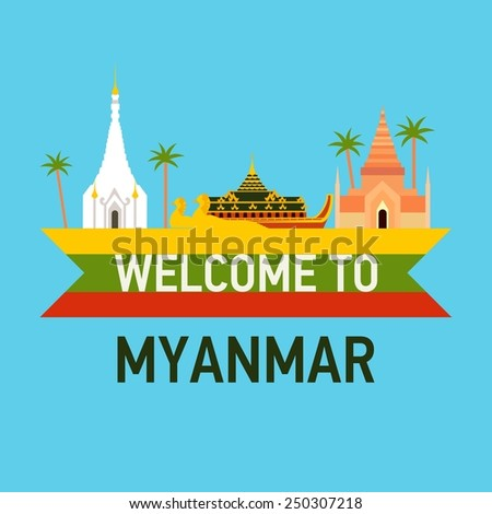 Vector flat travel icon about Myanmar (Burma) - stock vector
