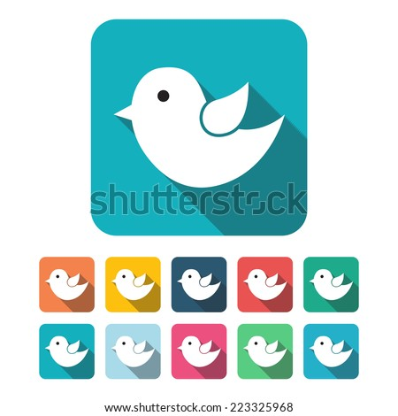 Vector flat twitter icons long shadow  - stock vector