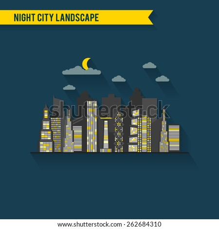 Vector flat urban city night landscape. Town skyline illustration. Skyscraper collection. Architecture backdrop. Office banner. - stock vector