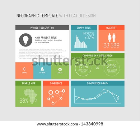 Vector flat user interface (UI) infographic template / design - stock vector