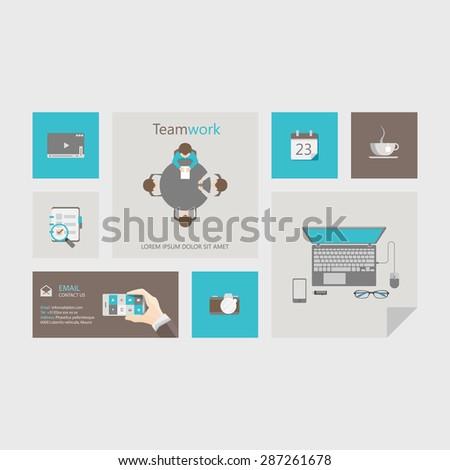Vector flat user interface (UI) infographic template / design - stock vector