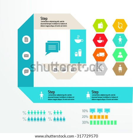 Vector FLAT version colorful infographics for your business presentations. Can be used for info graphics, graphic or website layout vector, numbered banners, diagram, web design. - stock vector