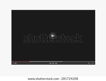 Vector flat video player interface - stock vector