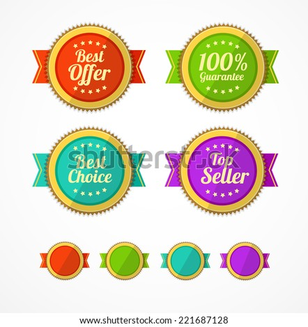 Vector flat Vintage Labels template set. Sale design elements.  - stock vector