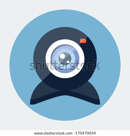 Vector flat webcam icon - stock vector