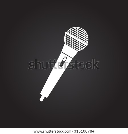 Vector flat white hand microphone icon on dark background  - stock vector