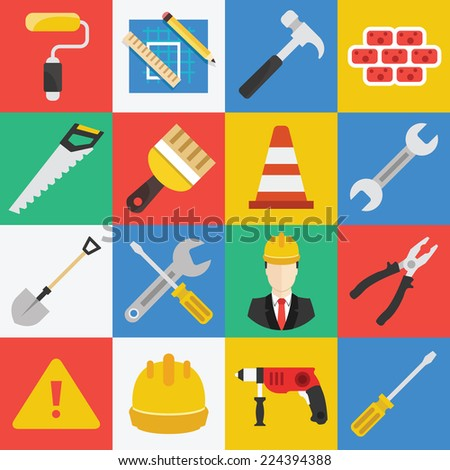 Vector flat working tools icons set. Collection of studio working tools elements, isolated objects, illustrations in modern trendy flat style. - stock vector