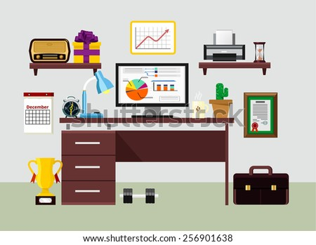 Vector flat workplace illustration - stock vector