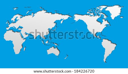 Vector Flat World Map With Pacific Ocean. Planet Earth Background. All The  Continents Of