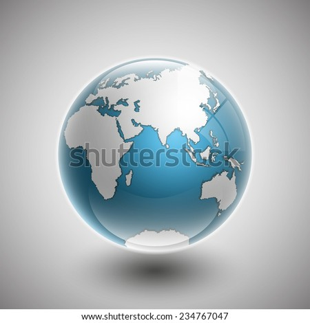 Vector flat world map with pacific ocean. Planet Earth background. All the continents of the world in one picture with a colorful.