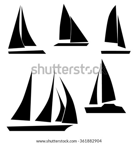 Vector flat yacht icon set isolated on white background - stock vector