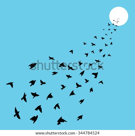 vector flock of many birds flying towards sun - stock vector