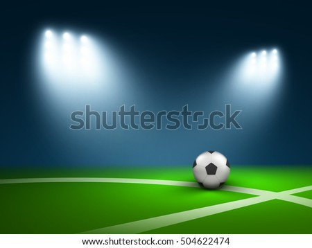 Vector floodlit soccer ball in a stadium.