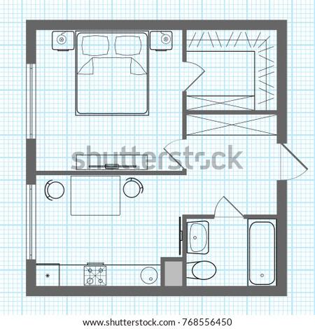 Vector Floor Plan Outline Studio Apartment Stock Vector 768556450 ...