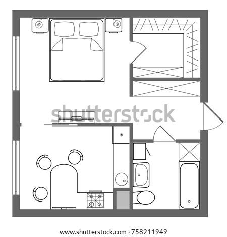 vector floor plan studio apartment professional stock vector