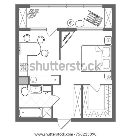 Vector floor plan studio apartment professional stock for Studio apartment furniture arrangement