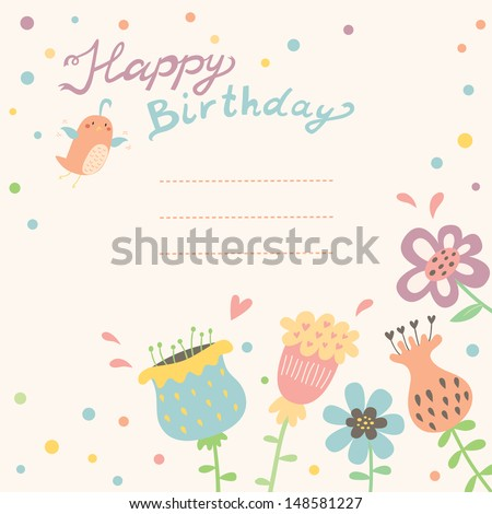 Vector floral background. Birthday card design.
