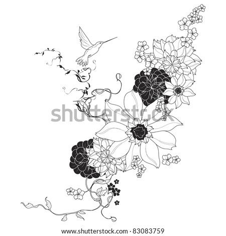 Vector floral background black and white - stock vector