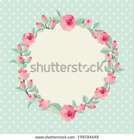 Vector floral background. Elegant wreath made of rose flowers - stock vector