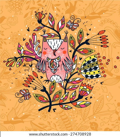 vector floral background with abstract colored flowers and a cute owl - stock vector