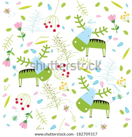 Vector floral background with deer