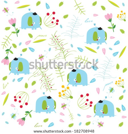 Vector floral background with elephants