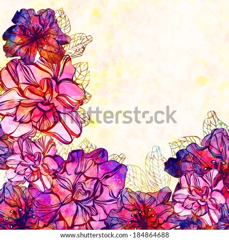 Vector floral background with flowers. EPS 10  - stock vector