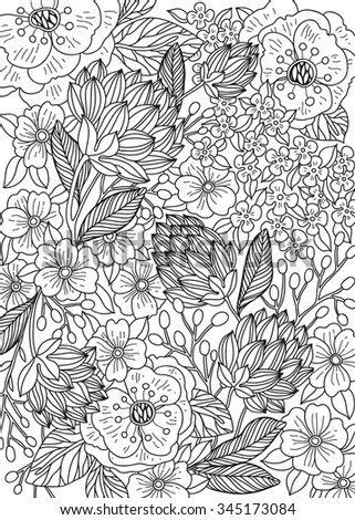 vector floral background with hand drawn flowers and plants. can be used for adult coloring books.