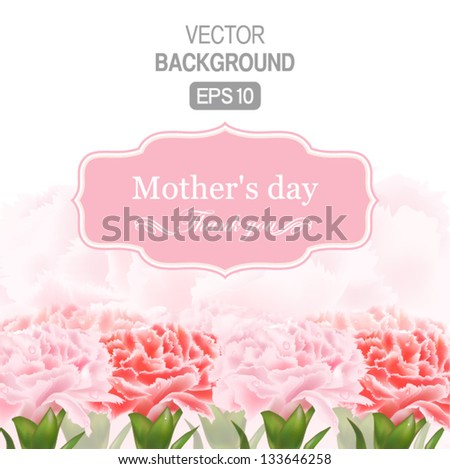 Vector Floral background with Place for your text. Abstract Classical congratulation card. With drops of carnations. - stock vector