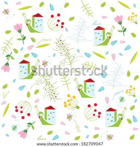 Vector floral background with snails
