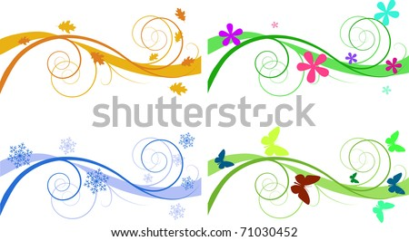 Vector floral backgrounds for banners of different seasons - stock vector
