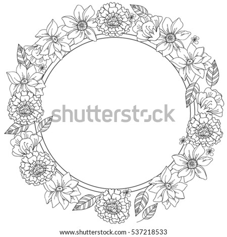 Vector Floral Black White Round Frame Stock Vector HD (Royalty Free ...