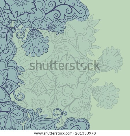 vector floral blue background, template, greeting card