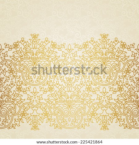 Vector floral border in Eastern style. Ornate element for design and place for text. Ornamental lace pattern for wedding invitations and greeting cards. Traditional gold decor on light background. - stock vector