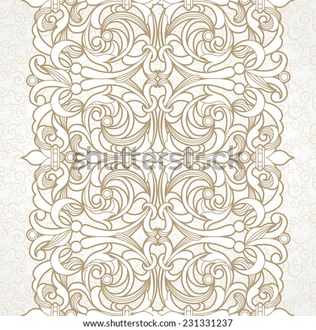 Vector floral border in Victorian style. Ornate element for design. Ornamental vintage pattern for wedding invitations and greeting cards. Traditional decor on light background.